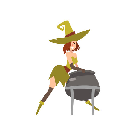 Beautiful Witch with Cauldron of Potion, Charming Witch Character Vector Illustration on White Background.