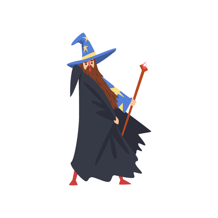 Male Sorcerer with Magic Staff, Bearded Wizard Character Wearing Black Cape and Pointed Hat Vector Illustration on White Background. Illustration