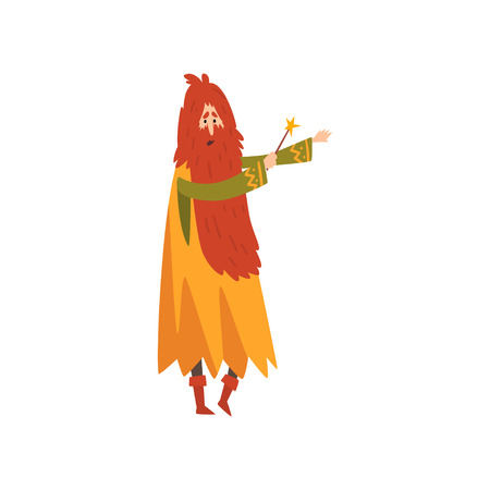 Male Sorcerer Conjuring with Magic Wand, Redhead Bearded Wizard Character Vector Illustration on White Background. Illustration