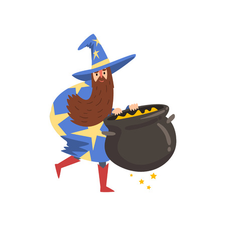 Male Sorcerer with Cauldron of Potion, Bearded Wizard Character Wearing Blue Mantle with Stars and Pointed Hat Vector Illustration on White Background.