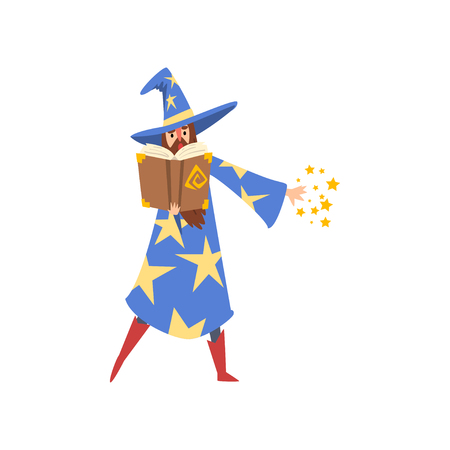 Male Sorcerer Reading Magic Book, Bearded Wizard Character Wearing Blue Mantle with Stars and Pointed Hat Vector Illustration Иллюстрация