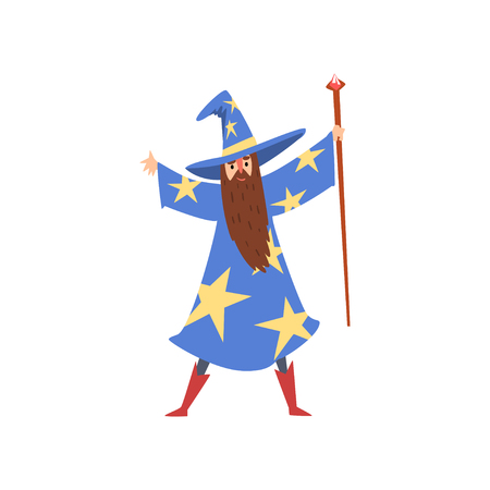 Male Sorcerer with Magic Staff, Bearded Wizard Character Wearing Blue Mantle with Stars and Pointed Hat Vector Illustration on White Background. Illustration