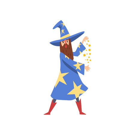 Bearded Male Sorcerer Character Wearing Blue Mantle with Stars and Pointed Hat Practicing Wizardry Vector Illustration