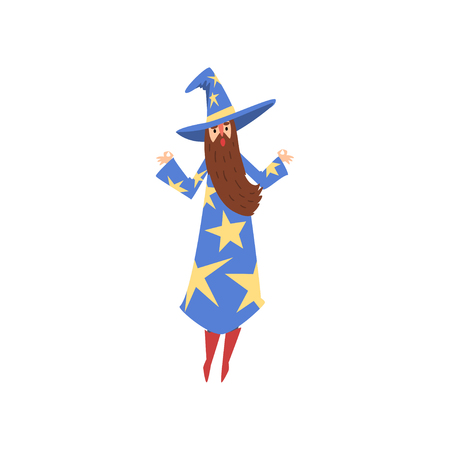 Male Sorcerer, Bearded Wizard Character Wearing Blue Mantle with Stars and Pointed Hat Vector Illustration on White Background.