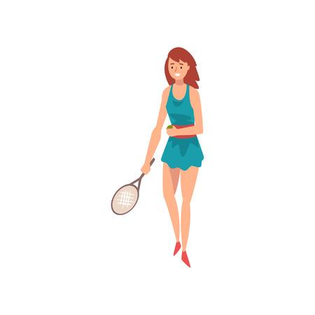 Jeune femme joueur de tennis, personnage de femme de sport professionnel debout avec une raquette à la main Illustration vectorielle sur fond blanc.