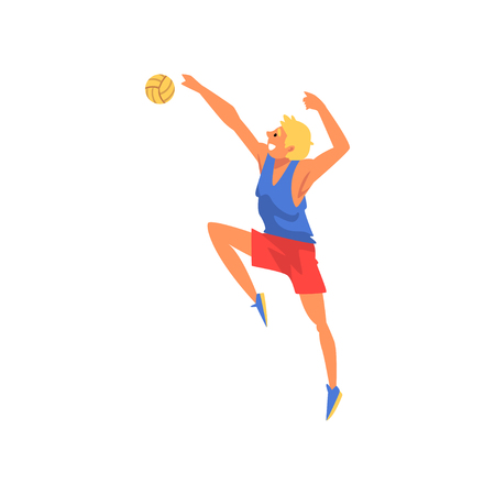 Male Volleyball Player Blocking Ball, Professional Sportsman Character Wearing Sports Uniform Vector Illustration on White Background. Illustration