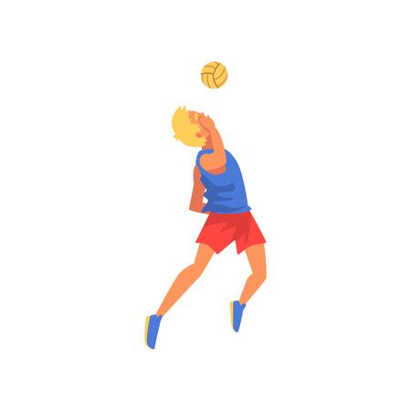 Man Playing Volleyball with Ball, Professional Sportsman Character Wearing Sports Uniform Vector Illustration on White Background. Illustration