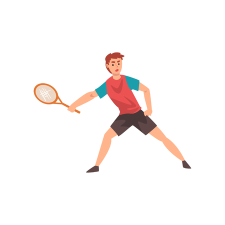 Male Tennis Player, Professional Sportsman Character Wearing Sports Uniform Playing Tennis Vector Illustration Ilustracja