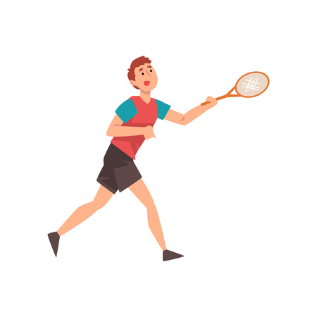 Young Man Playing Tennis, Professional Sportsman Character Wearing Sports Uniform with Racket in His Hand Vector Illustration Ilustracja
