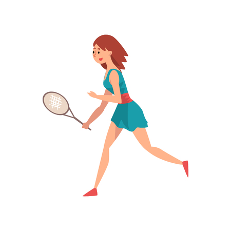 Young Female Tennis Player with Racket, Professional Sportswoman Character in Action Vector Illustration on White Background.