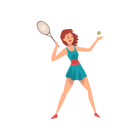 Young Female Tennis Player with Racket and Ball in Her Hands, Professional Sportswoman Character in Action Vector Illustration on White Background.