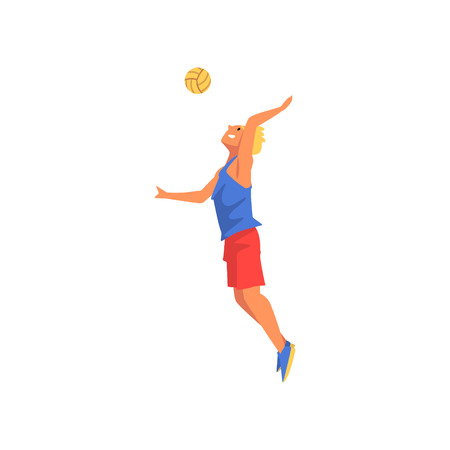 Male Volleyball Player, Professional Sportsman Character Wearing Sports Uniform Vector Illustration on White Background.