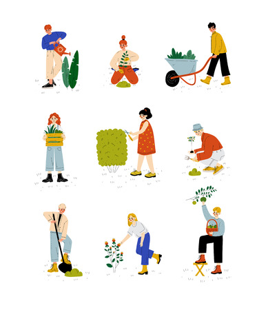 People Working in Garden or Farm Set, Girls and Guys Planting Seedlings, Watering and Caring for Plants, Vector Illustration on White Background.