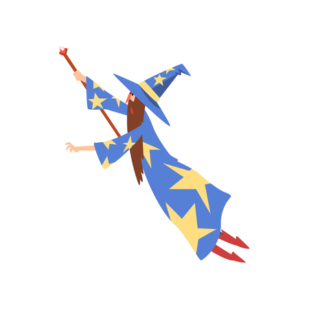 Male Sorcerer Conjuring, Bearded Wizard Character Wearing Blue Mantle with Stars and Pointed Hat Practicing Wizardry Vector Illustration on White Background.