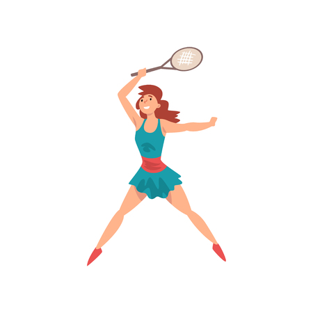 Young Female Tennis Player with Racket and Ball in Her Hands, Professional Sportswoman Character in Action Vector Illustration