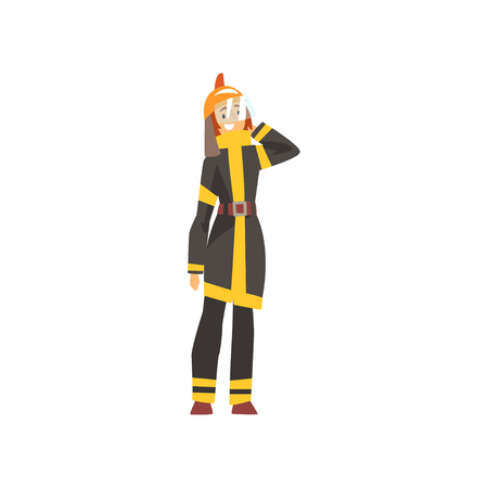 Woman Fireman in Uniform and Protective Helmet, Female Firefighter Character Vector Illustration