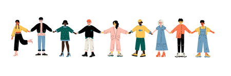 Multicultural Young People Standing in Row Together Holding Hands, Friendship, Unity, Tolerance Vector Illustration on White Background.