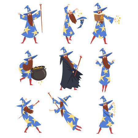 Male Sorcerer Practicing Wizardry Set, Wizard Character Wearing Blue Mantle with Stars and Pointed Hat Vector Illustration on White Background.
