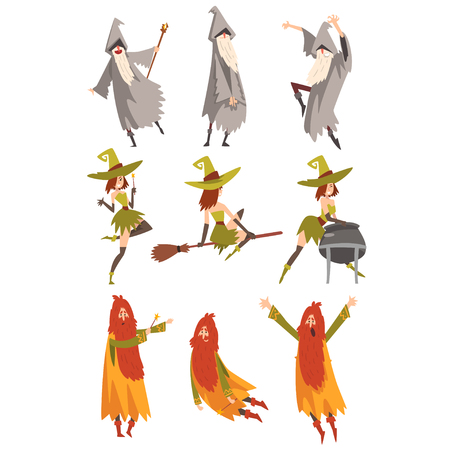 Sorcerers Practicing Wizardry Set, Wizards and Withes Characters in Different Poses Vector Illustration on White Background.
