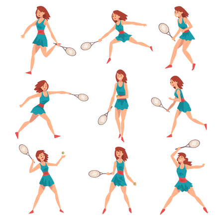 Young Woman Playing Tennis Set, Professional Sportswoman Character in Action Vector Illustration on White Background.