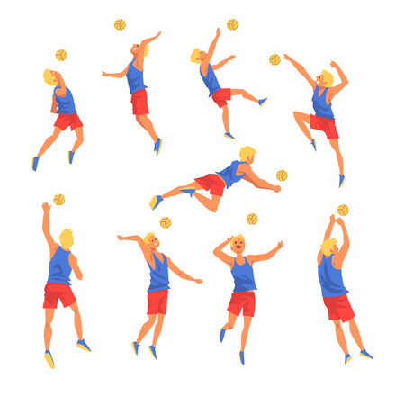 Man Playing witn Ball Wearing Sports Uniform Set, Volleyball Player, Professional Sportsman Character in Motion Vector Illustration on White Background. Illustration
