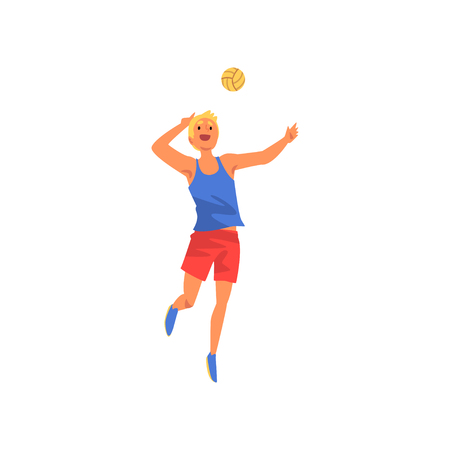 Male Volleyball Player, Professional Sportsman Character Wearing Sports Uniform Playing with Ball, Front View Vector Illustration on White Background.