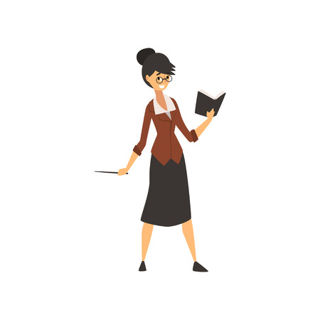Woman School Teacher Character Standing with Book Vector Illustration on White Background.