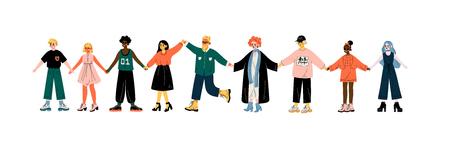 Gente multicultural de pie en fila juntos tomados de la mano, amistad, tolerancia ilustración vectorial sobre fondo blanco. Ilustración de vector