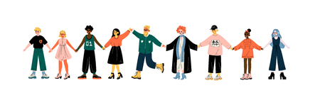 Multicultural People Standing in Row Together Holding Hands, Friendship, Tolerance Vector Illustration on White Background.