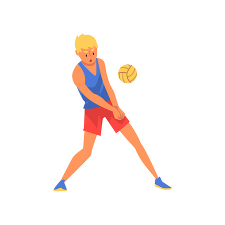 Volleyball Player Wearing Sports Uniform, Male Professional Sportsman Character Playing with Ball Vector Illustration
