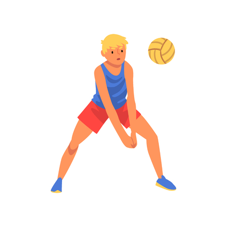 Man Playing with Ball Wearing Sports Uniform, Male Volleyball Player Professional Sportsman Character Vector Illustration on White Background.