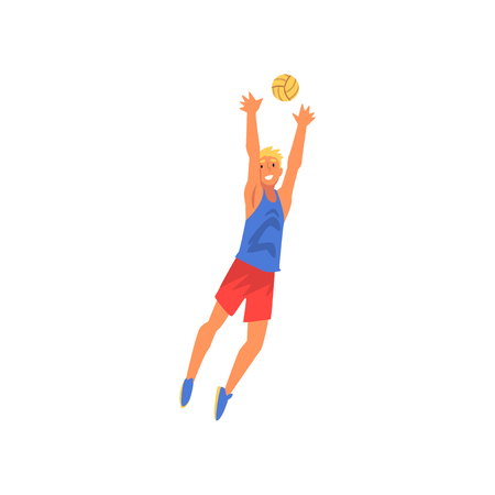 Young Man Playing with Ball, Volleyball Player Professional Sportsman Character Vector Illustration on White Background. Illustration