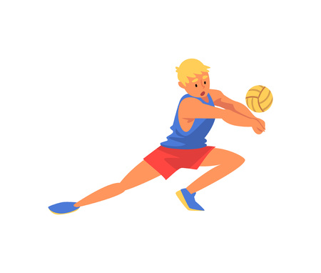 Man Volleyball Player Playing with Ball Wearing Sports Uniform, Professional Sportsman Character in Motion Vector Illustration on White Background.