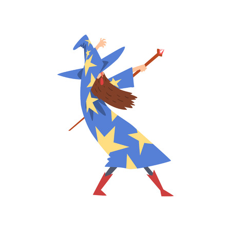 Male Sorcerer Practicing Wizardry with Staff, Bearded Wizard Character Wearing Blue Mantle with Stars and Pointed Hat Vector Illustration on White Background.