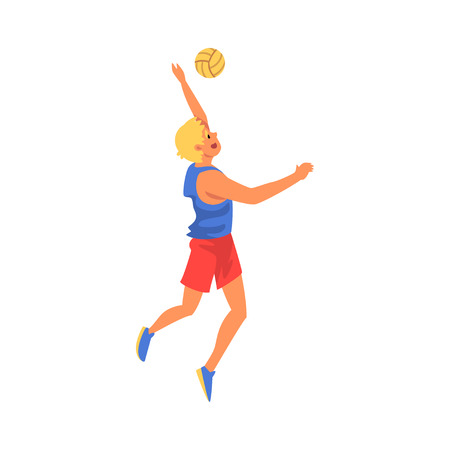 Man Volleyball Player Serving Ball, Professional Sportsman Character Wearing Sports Uniform in Motion Vector Illustration on White Background.