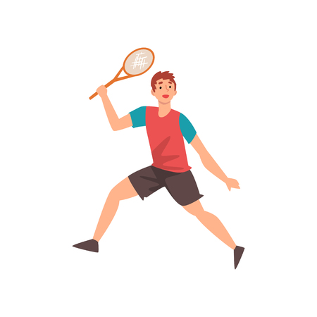 Male Tennis Player with Racket in His Hand, Professional Sportsman Character in Action Vector Illustration