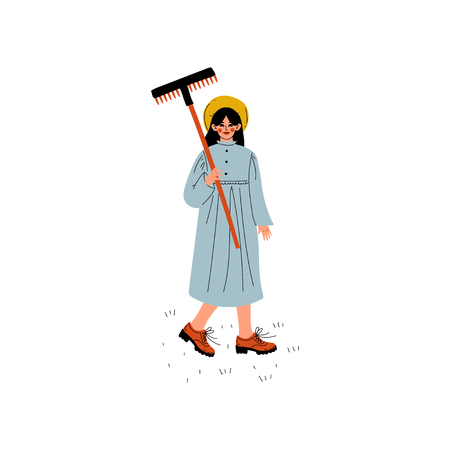 Beautiful Girl Dressed in Dress and Hat Standing with Rakes, Young Woman Working in Garden or Farm Vector Illustration on White Background.