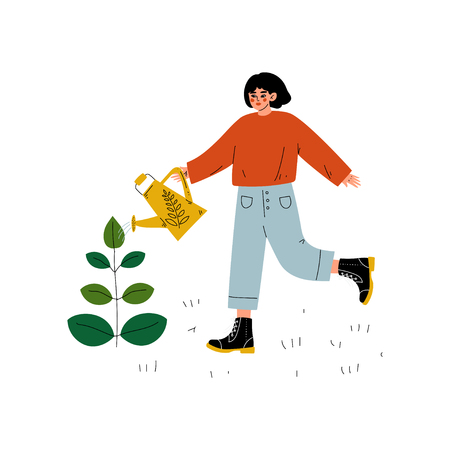 Girl Watering Plant with Watering Can, Young Woman Working in Garden or Farm Vector Illustration on White Background. Illustration