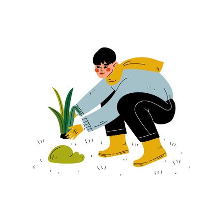 Guy Gardening Plant, Boy Working in Garden or Farm Vector Illustration on White Background. Illustration