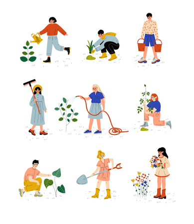 People Working in Garden or Farm Set, Girls and Guys Planting Seedlings, Watering Plants, Picking Up Flowers Vector Illustration on White Background. 向量圖像