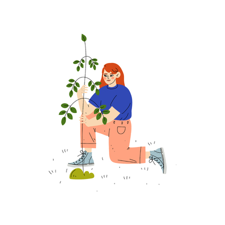Girl Planting Tree, Boy Working in Garden or Farm Vector Illustration on White Background. Çizim