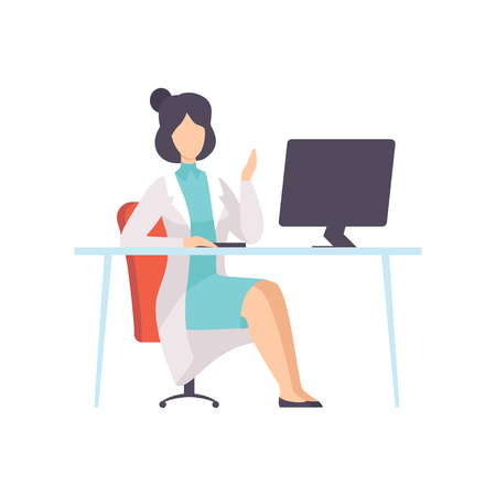 Female Doctor Character Working at Desk with Computer Vector Illustration on White Background.