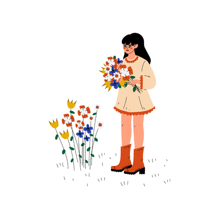 Young Woman Picking Up Flowers, Girl Working in Garden or Farm Vector Illustration on White Background. Standard-Bild - 125285252