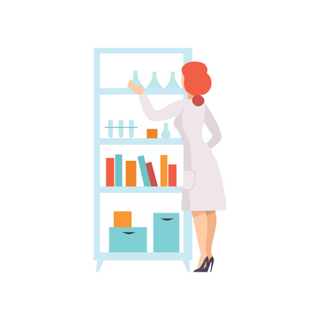 Young Woman Working in Laboratory, Female Scientist Character Holding Flasks and Doing Research Vector Illustration on White Background.