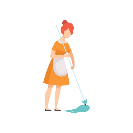 Housemaid Mopping Floor, Housewife Character Wearing Uniform with Mop Vector Illustration on White Background. Ilustrace