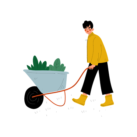 Girl Pushing Wheelbarrow with Seedlings, Young Woman Working in Garden or Farm Vector Illustration on White Background. Illustration