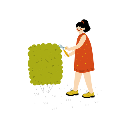 Young Woman Shearing Hedge, Girl Working in Garden or Farm Vector Illustration on White Background. Illustration
