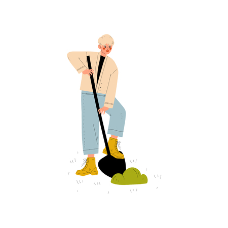 Young Man Working with Shovel in Garden or Farm Vector Illustration on White Background.