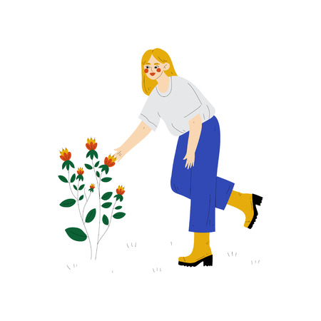 Young Woman Cultivating Plant with Flower, Guy Working in Garden or Farm Vector Illustration on White Background. Illustration