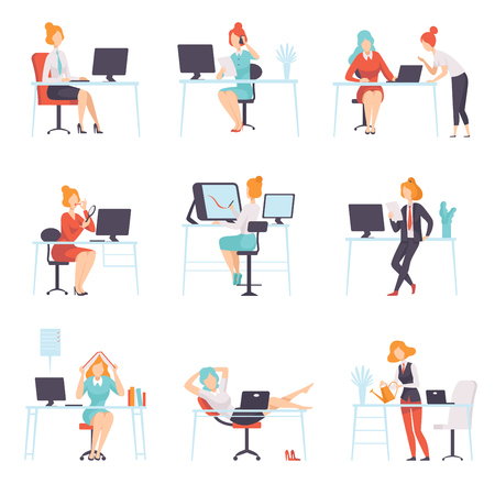 Businesswomen Working in Office Set, Business Employee Character Daily Routine Vector Illustration on White Background.